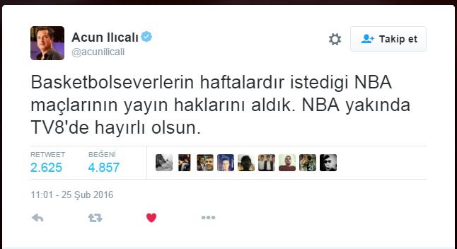 Basketbolseverlerin haftalardır istedigi NBA maçlarının yayın haklarını aldık. NBA yakında TV8'de hayırlı olsun.